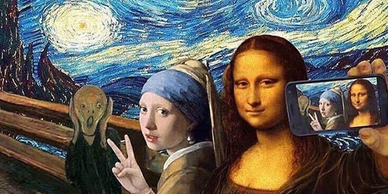 Mona Lisa SELFIE collage 800 x 400