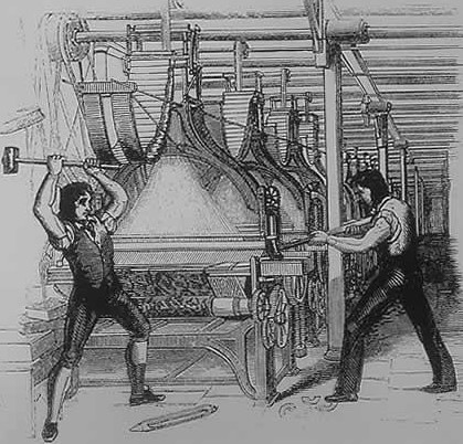 Luddites breaking a Jacquard loom c.1844, Penny magazine.